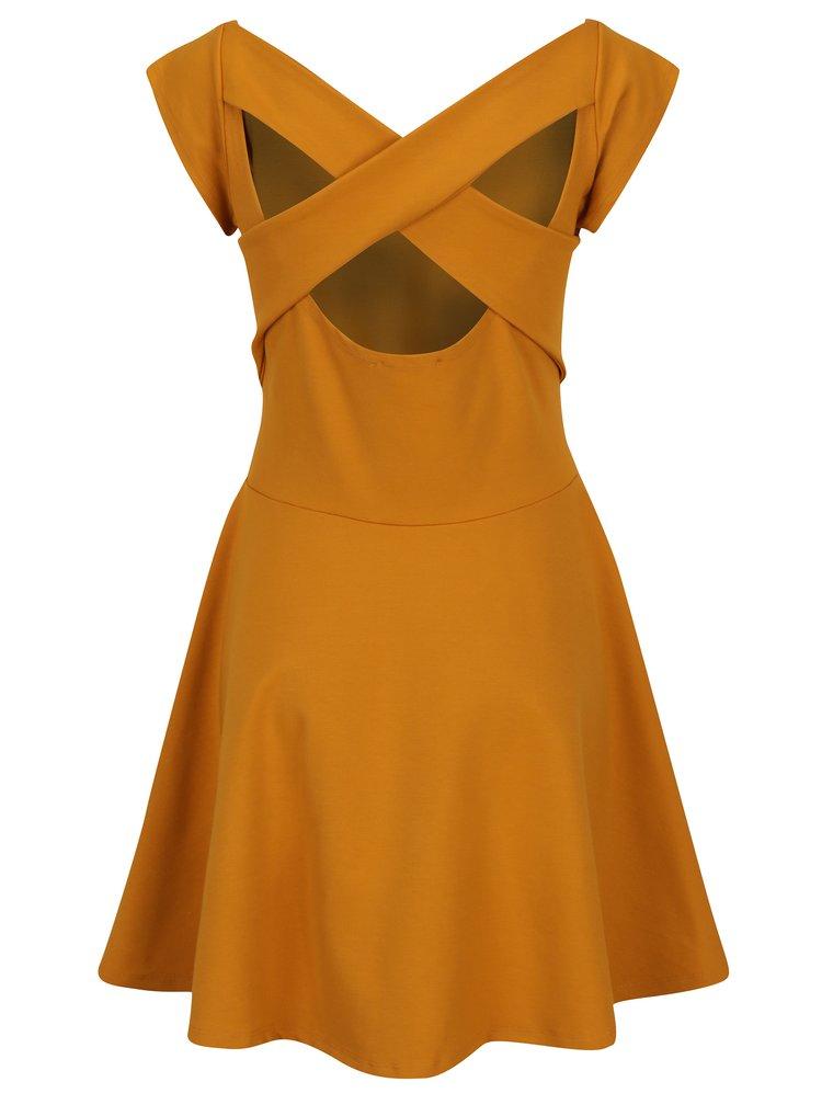 Hořčicové šaty s pásky na zádech ZOOT