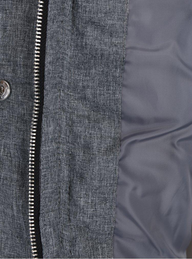 Šedý žíhaný prošívaný zimní kabát Dorothy Perkins