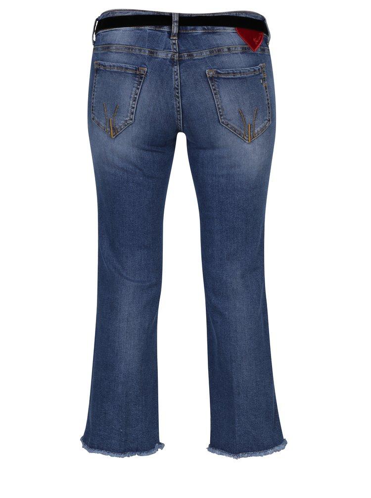 Modré zkrácené bootcut  džíny s vyšisovaným efektem Fornarina Bambi