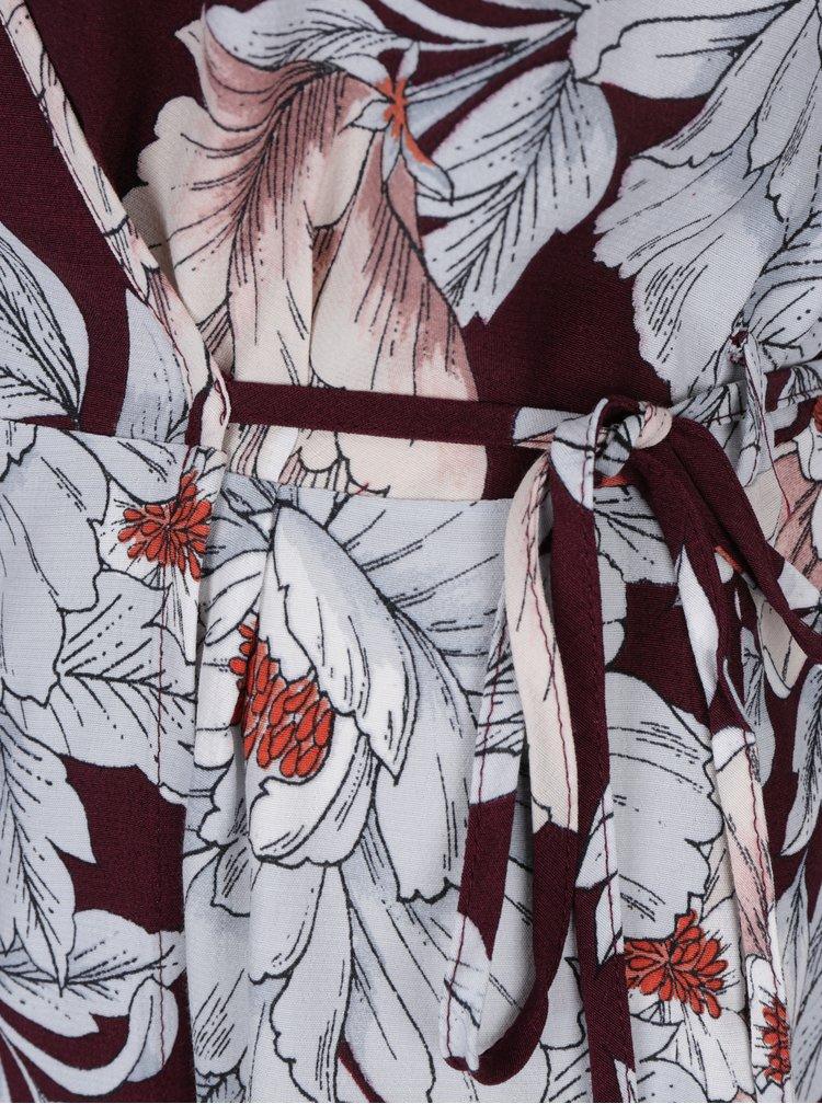 Bluza bordo cu print floral si maneci clopot cu volane Dorothy Perkins