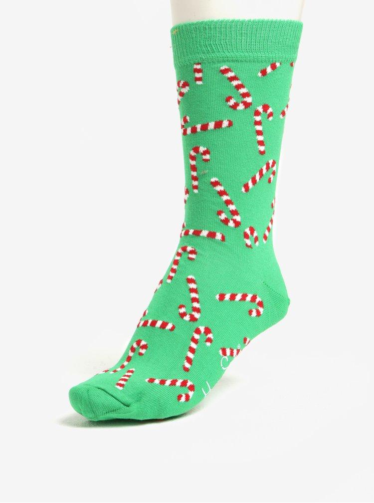 Zelené unisex ponožky s vánočním motivem Happy Socks