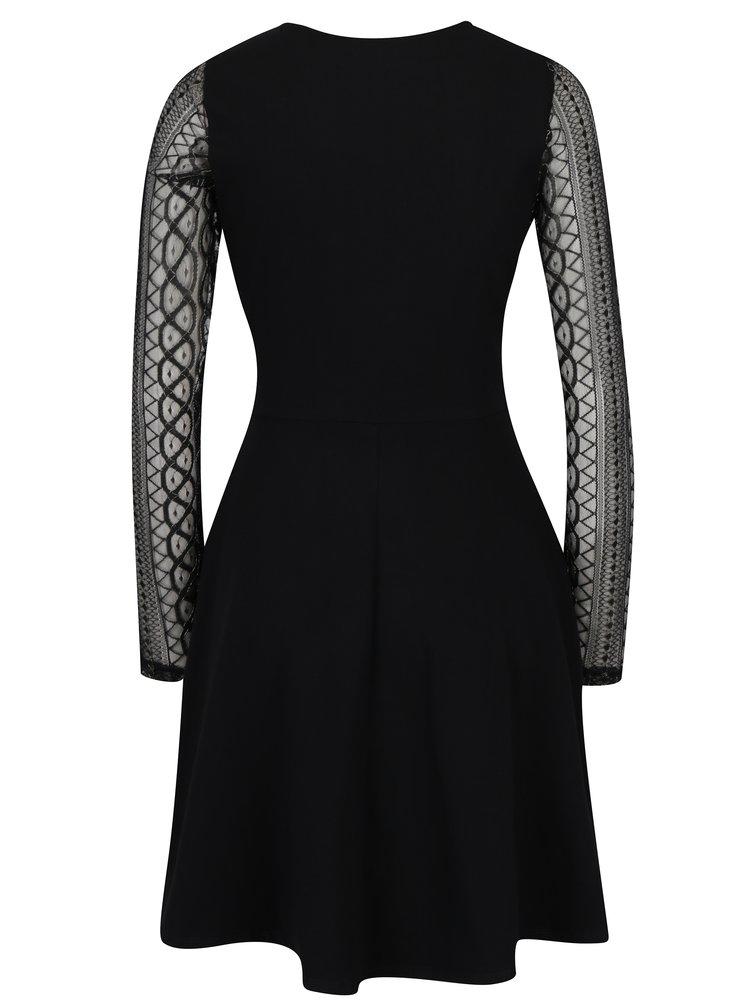 Černé šaty s průsvitnými rukávy Dorothy Perkins