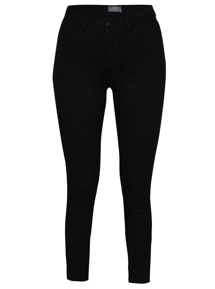 Černé zkrácené skinny džíny s vysokým pasem Dorothy Perkins