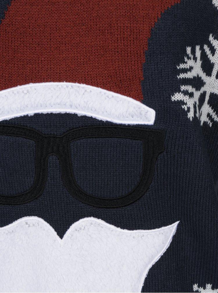 Tmavě modrý svetr s motivem Santy ONLY & SONS X-MAS