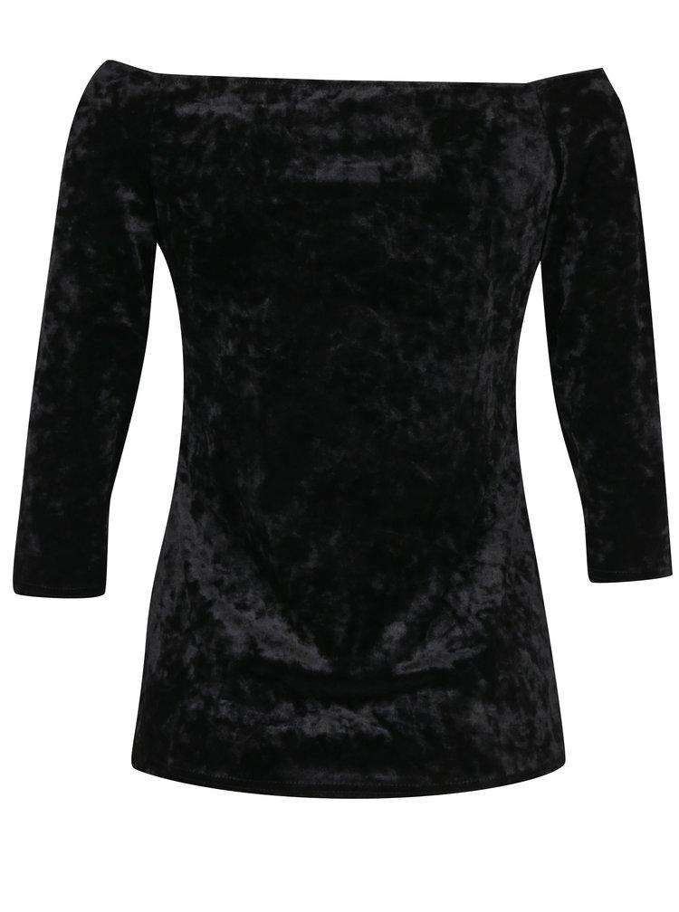 Bluza neagra catifelata cu maneci 3/4 si umeri expusi Dorothy Perkins