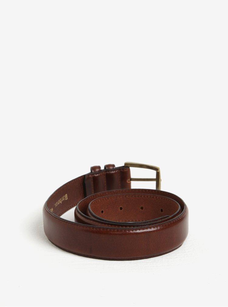 Tmavě hnědý pánský kožený pásek Barbour Giftbox