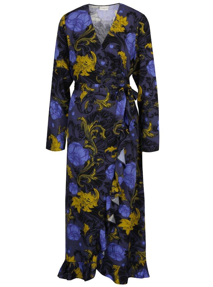 Tmavě šedé květované zavinovací šaty Selected Femme Sonja