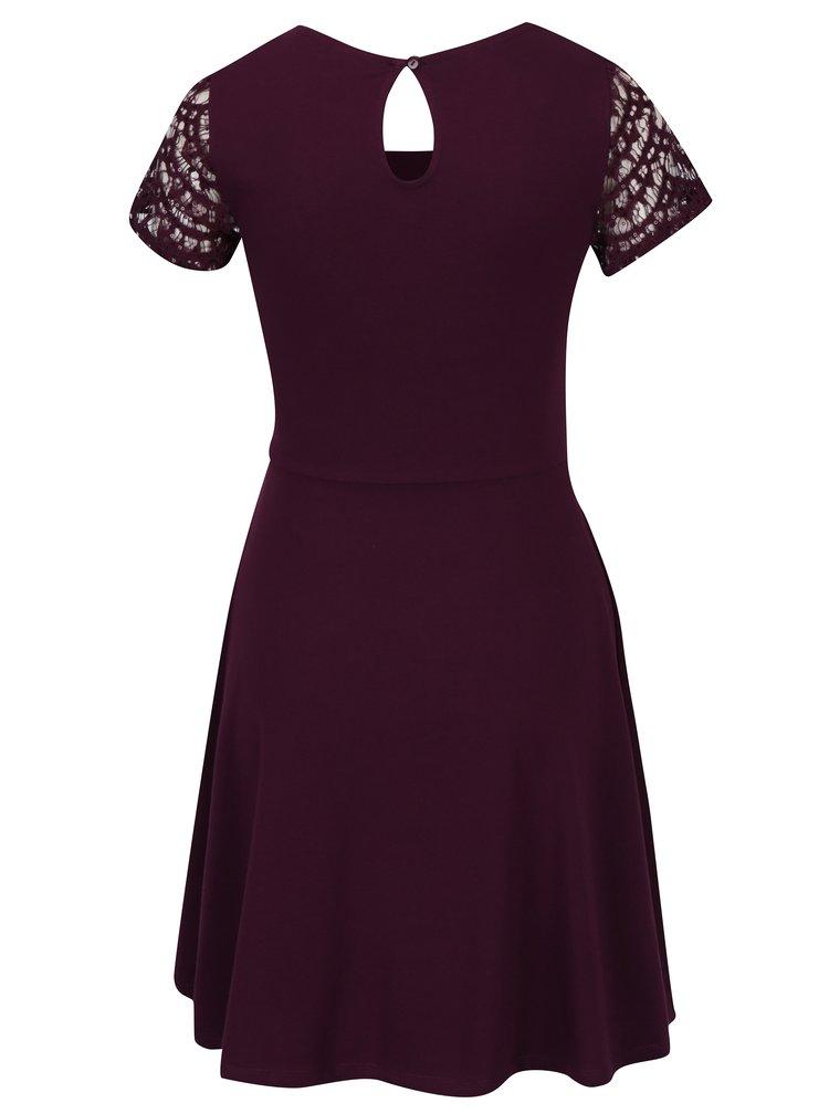 Vínové šaty s krajkovým topem a flitry Dorothy Perkins Petite