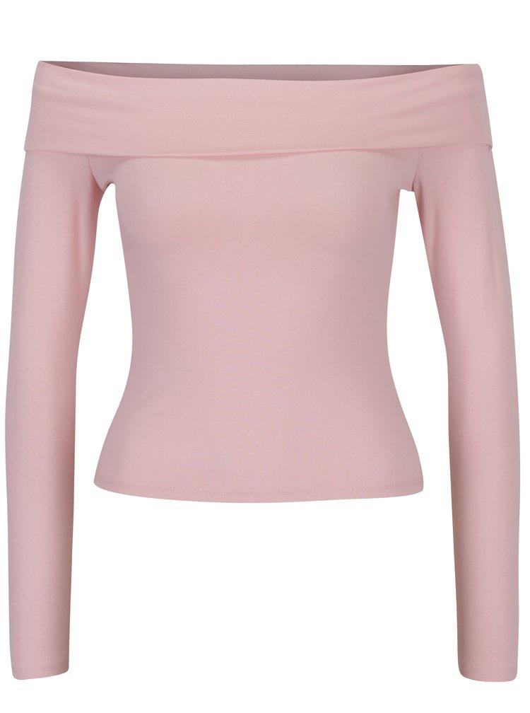 Světle růžové tričko se odhalenými rameny Miss Selfridge