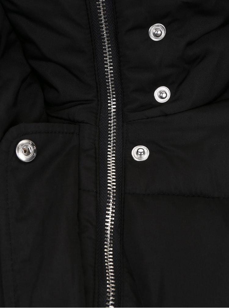 Černá prošívaná bunda s páskem Miss Selfridge