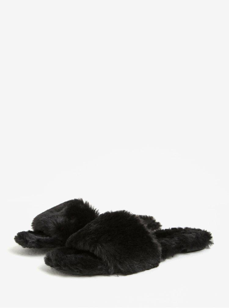 Černé dámské pantofle s umělým kožíškem ALDO Fofa