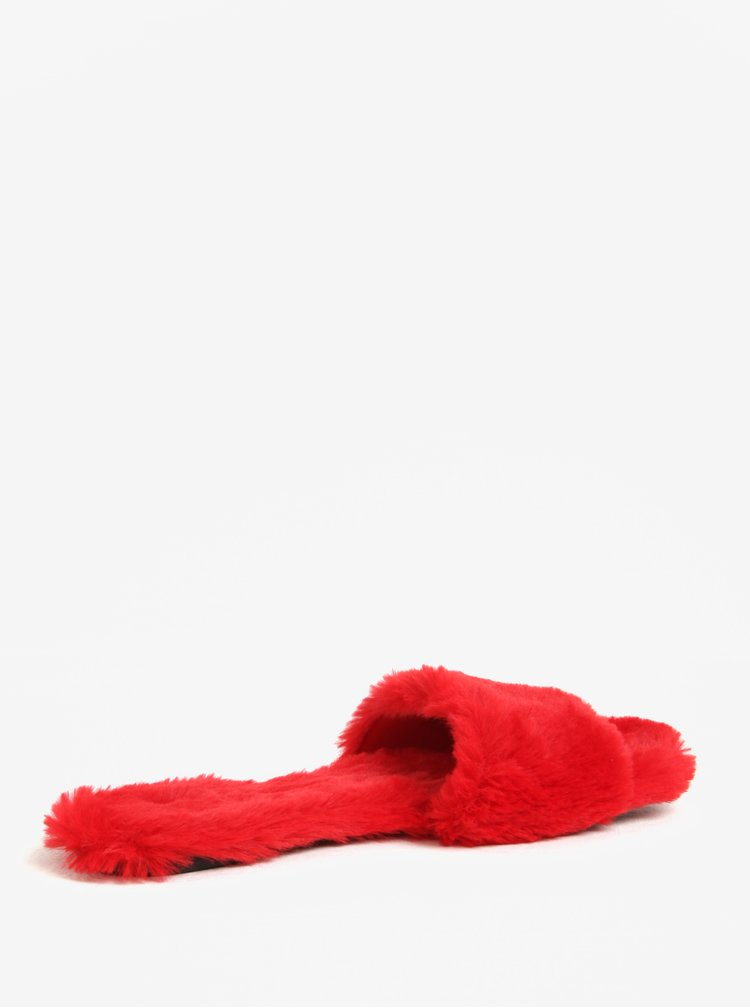 Červené dámské pantofle s umělým kožíškem ALDO Fofa