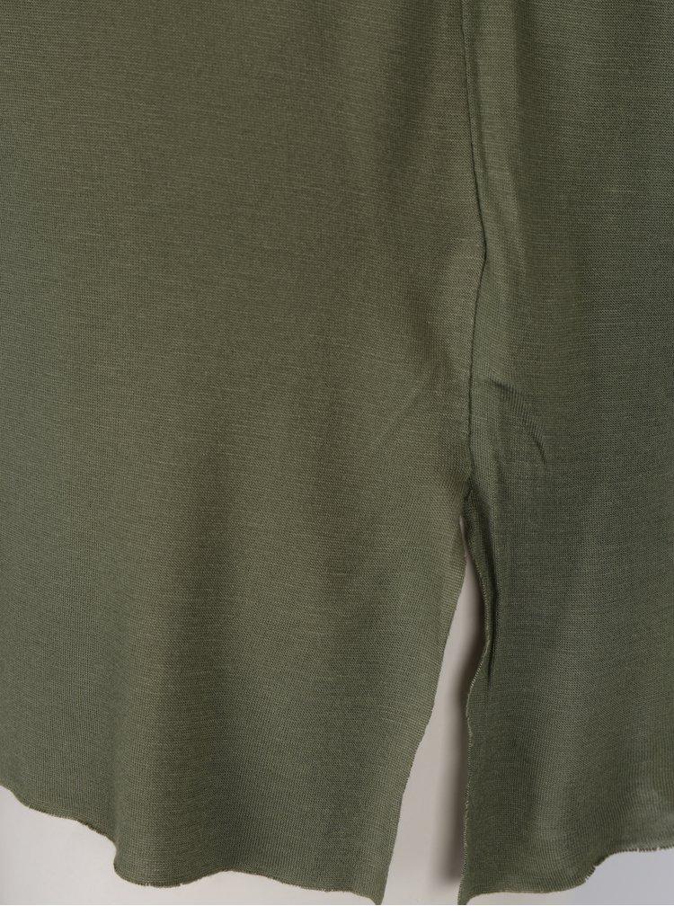 Khaki tričko s dlouhým rukávem a kapsou Madonna
