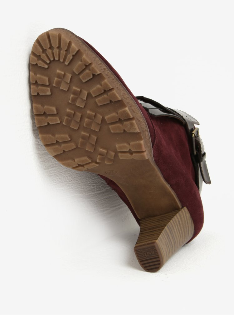 Vínové semišové kotníkové boty s třásněmi Tamaris