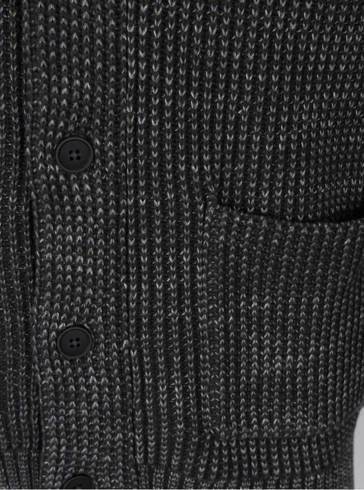 Tmavě šedý pánský pletený kardigan Jack & Jones Orson