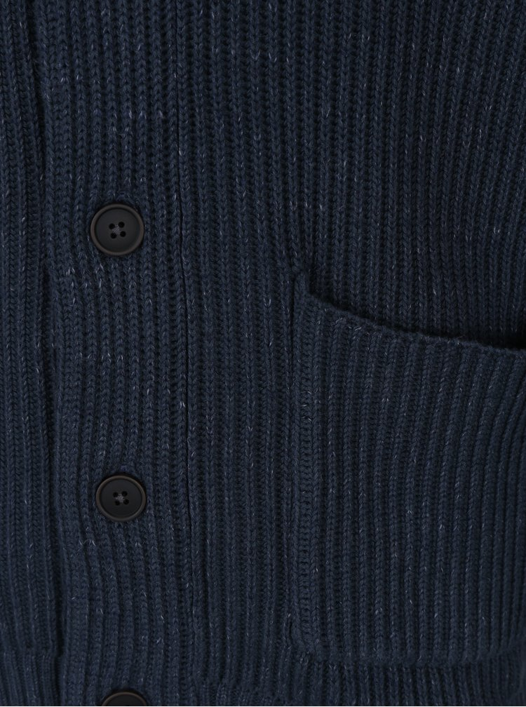 Tmavě modrý pánský pletený kardigan Jack & Jones Orson
