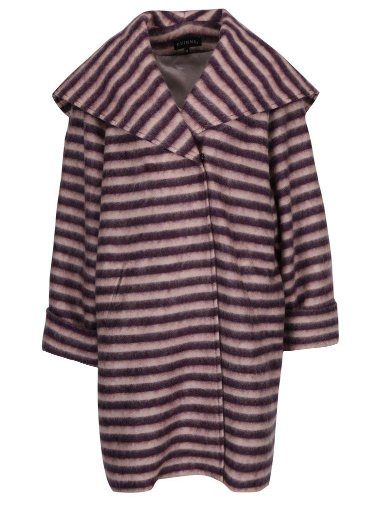 Růžovo-fialový pruhovaný vlněný zimní oversize kabát Kvinna