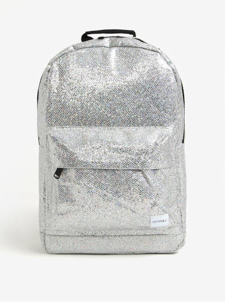Třpytivý batoh ve stříbrné barvě Spiral Silver Glamour 18 l