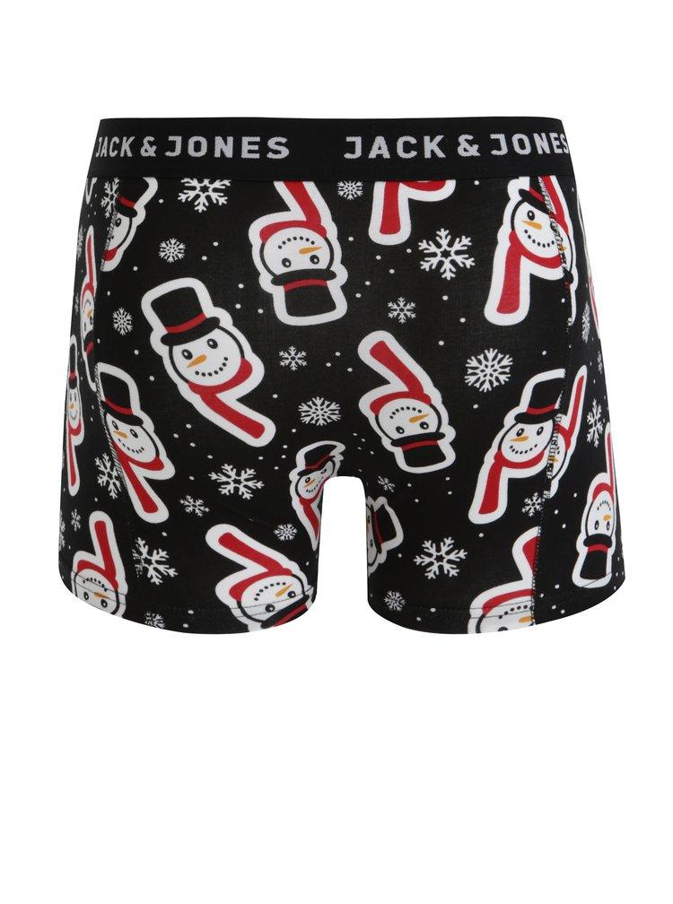 Súprava troch boxeriek v čiernej a červenej farbe s vianočným motívom Jack & Jones Renideer