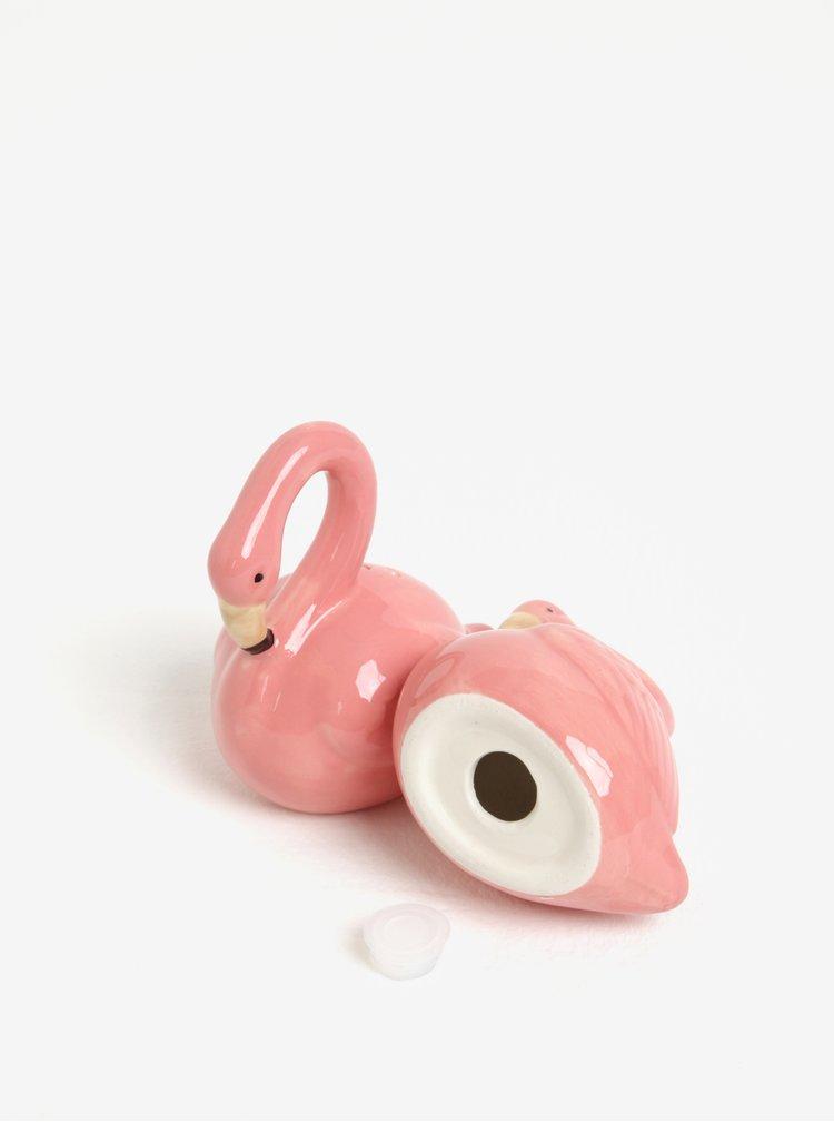 Růžová slánka a pepřenka ve tvaru plameňáka Sass & Belle