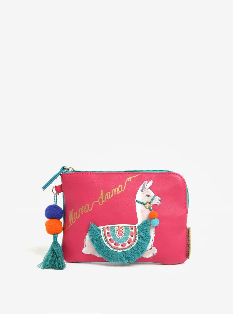 Geanta roz pentru cosmetice cu print si ciucuri  - Disaster Llama