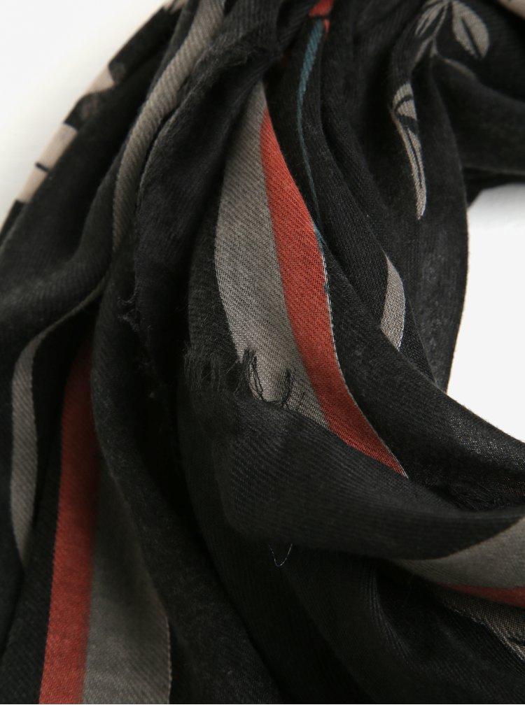 Fular subtire negru cu model - Pieces Amelia