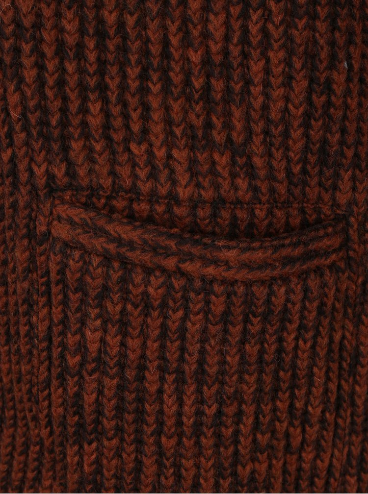 Cihlový žíhaný lehký vlněný kabát Kvinna