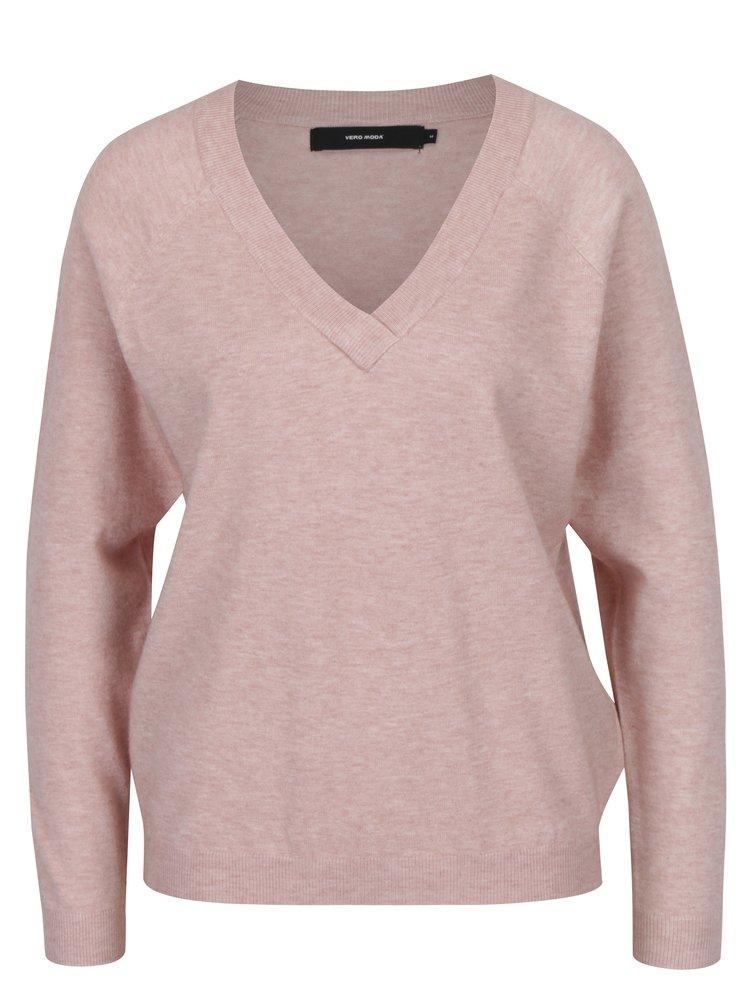 Starorůžový svetr s véčkovým výstřihem VERO MODA Karis