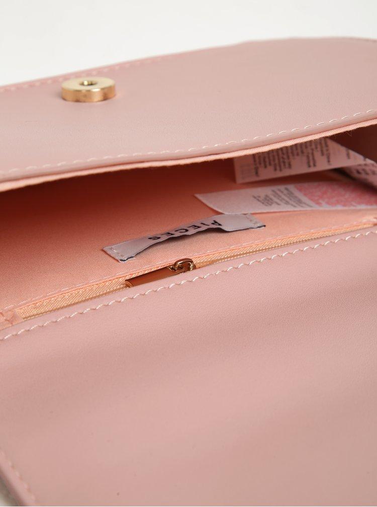 Geanta crossbody roz cu blana artificiala decorativa - Pieces Ake