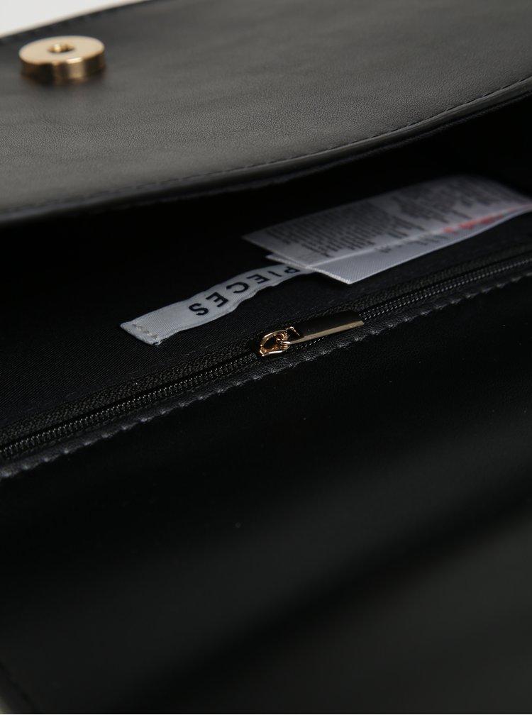 Černá crossbody kabelka s detailem z umělé kožešiny Pieces Ake