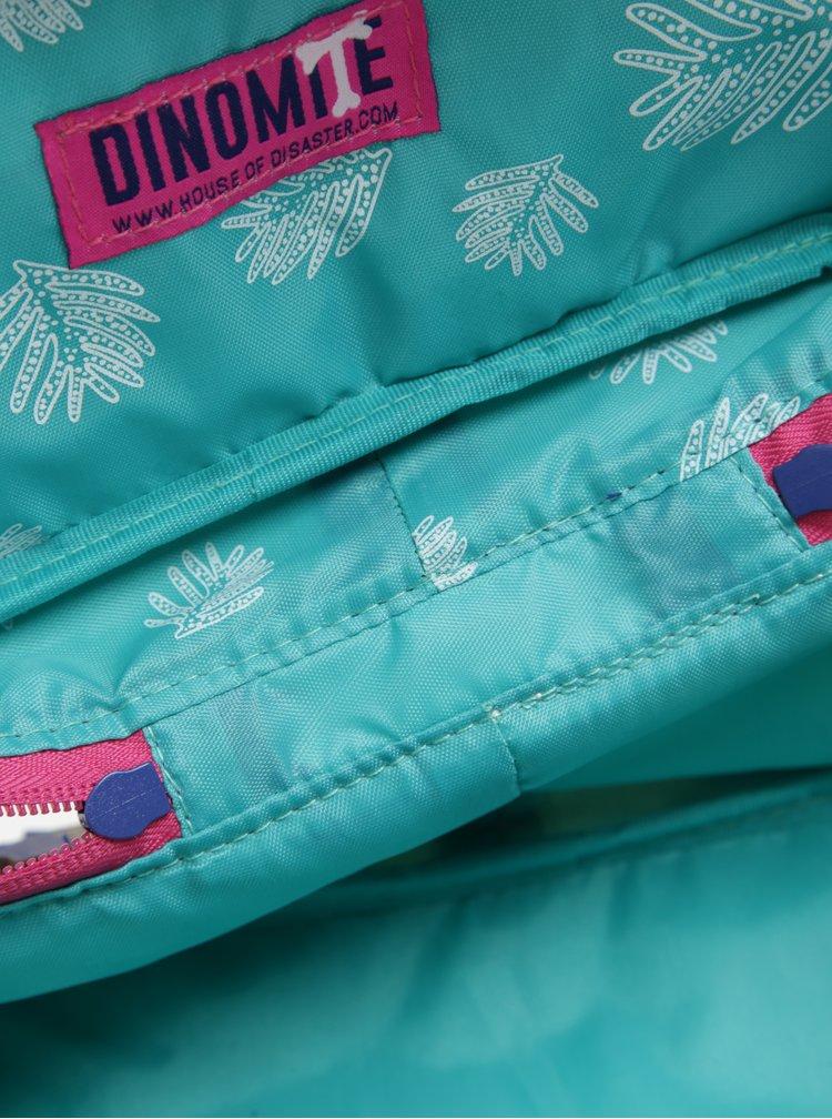 Modro-krémová kosmetická taštička Disaster Dinomite