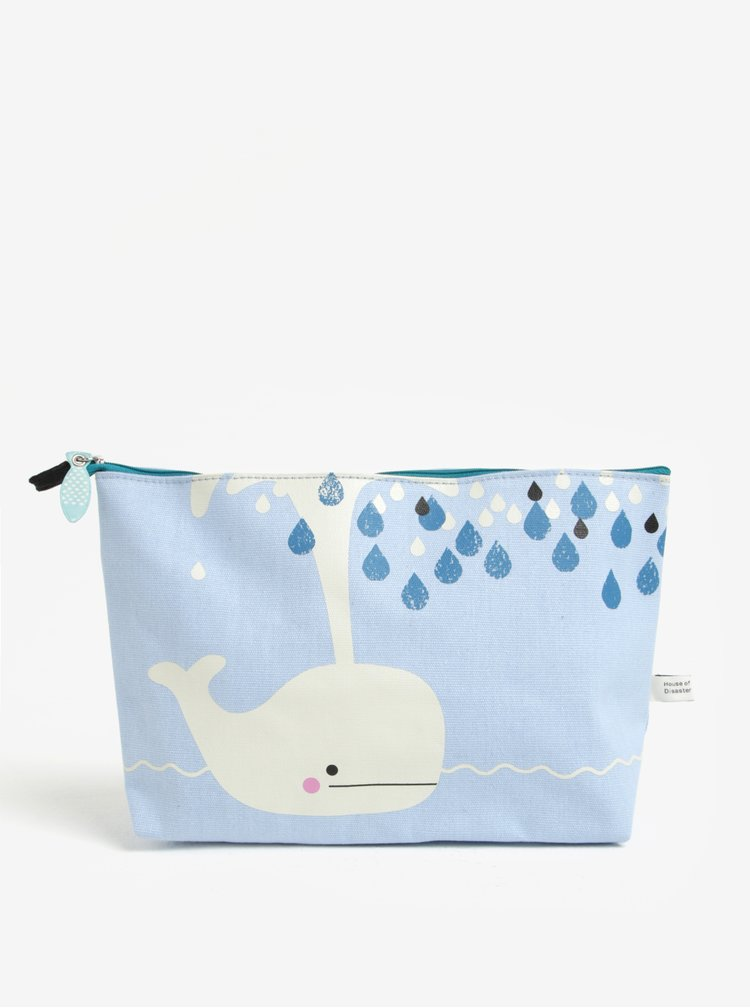 Modrá kosmetická taštička s potiskem Disaster Hi Kawaii Cat Whale