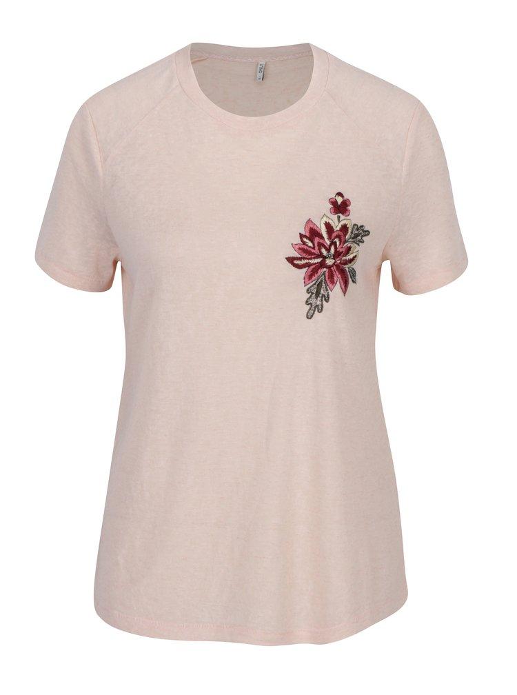 Světle růžové tričko s výšivkou ONLY Helena