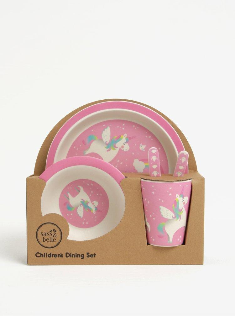 Růžový dětský jídelní set z eko plastu Sass & Belle