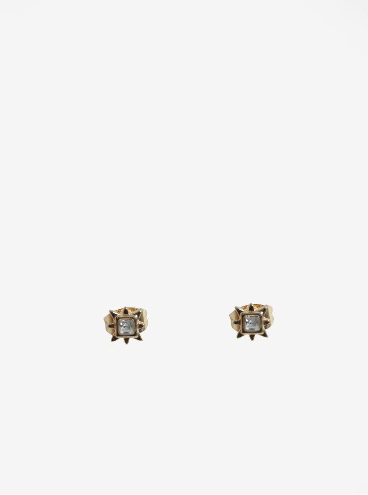 Set cu trei perechi de cercei aurii cu pietre decorative - Pieces Rolla