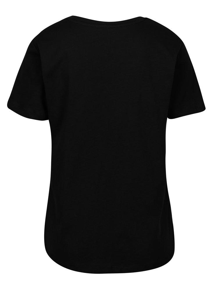 Černé tričko s potiskem a průsvitným dekoltem ONLY Champagne