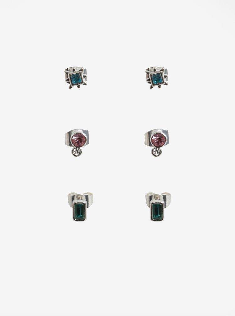 Set cu trei perechi de cercei argintii cu pietre decorative colorate - Pieces Rolla