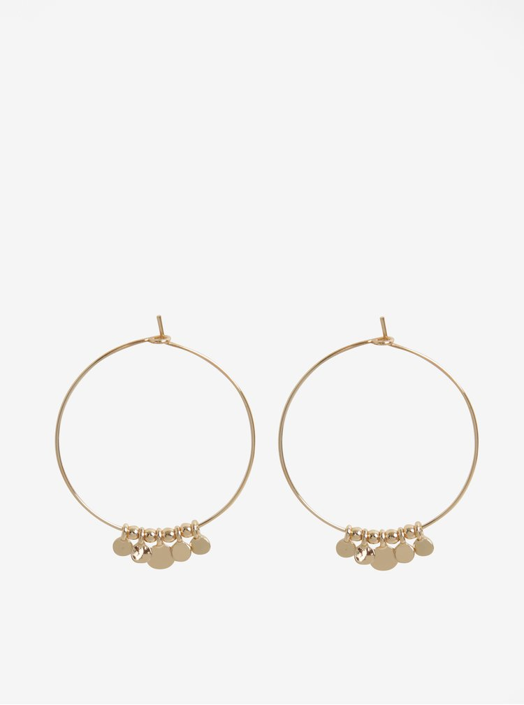 Kruhové náušnice s přívěsky ve zlaté barvě Pieces Valeria