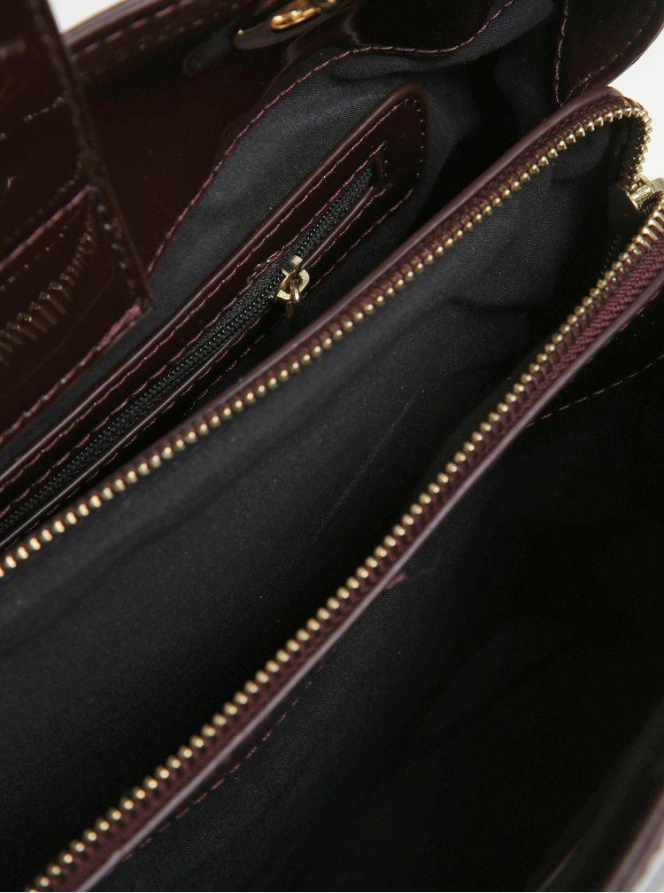 Geanta bordo cu pandantiv si aspect lacuit Juno
