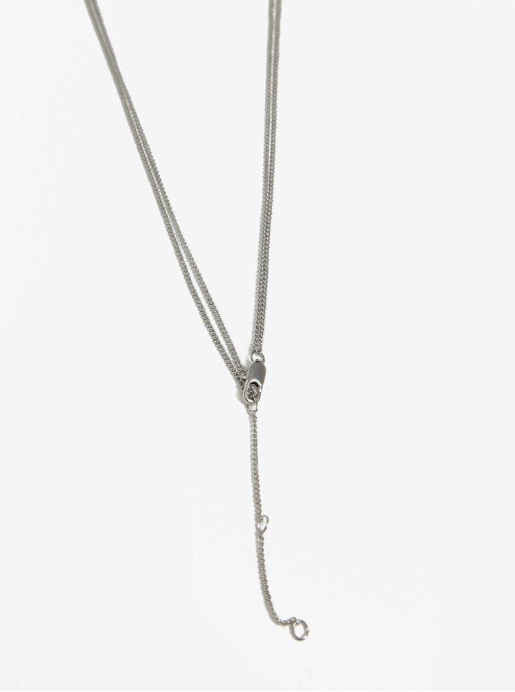 Dvojitý řetízek s přívěskem ve stříbrné barvě Pieces Auluna