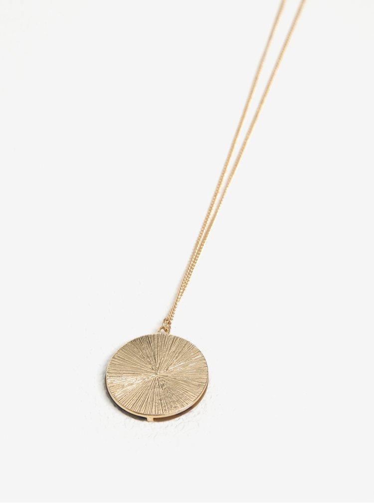 Řetízek ve zlaté barvě s hnědým přívěskem Pieces Valora