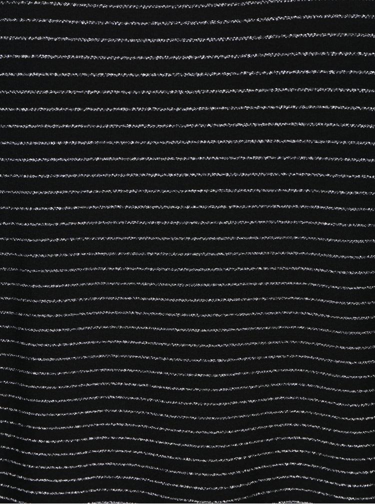 Černý top s pruhy ve stříbrné barvě VERO MODA Haley