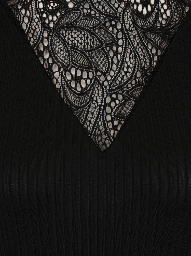 Černé žebrované body s krajkou v dekoltu Jacqueline de Yong Frine