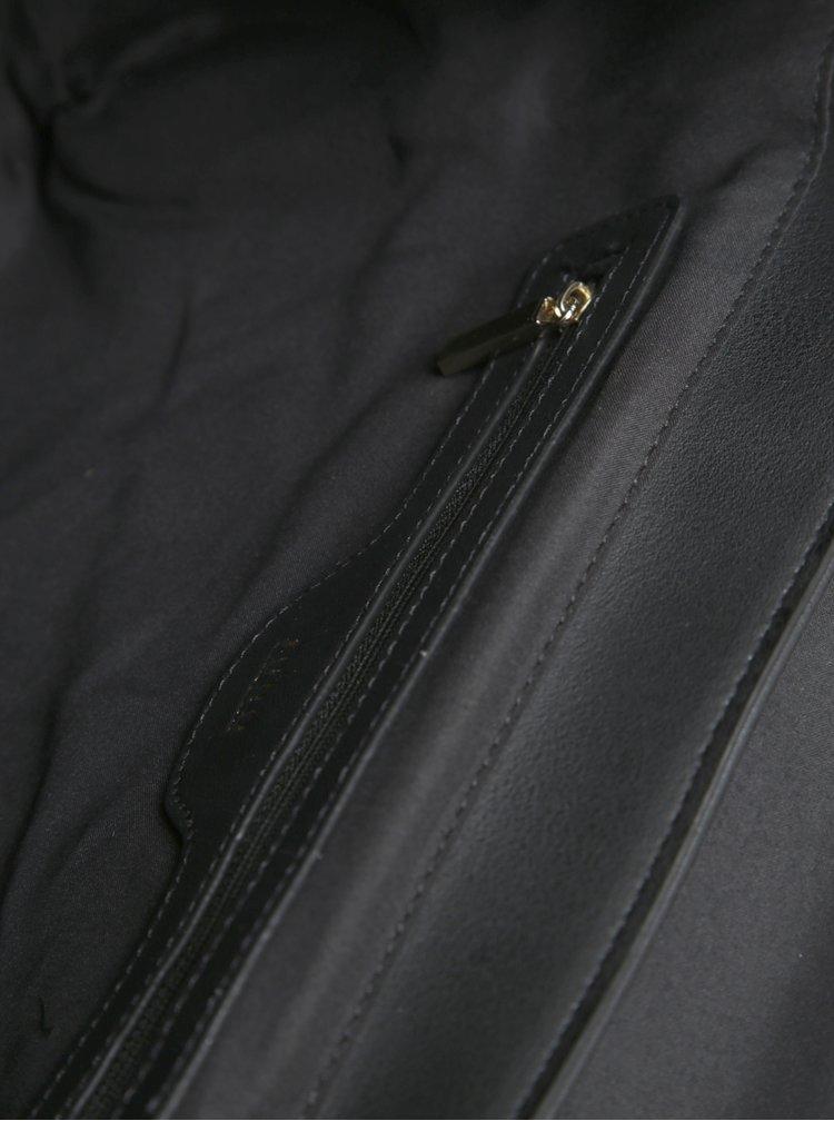Béžovo-černá kabelka s klopou a detaily ve zlaté barvě Juno