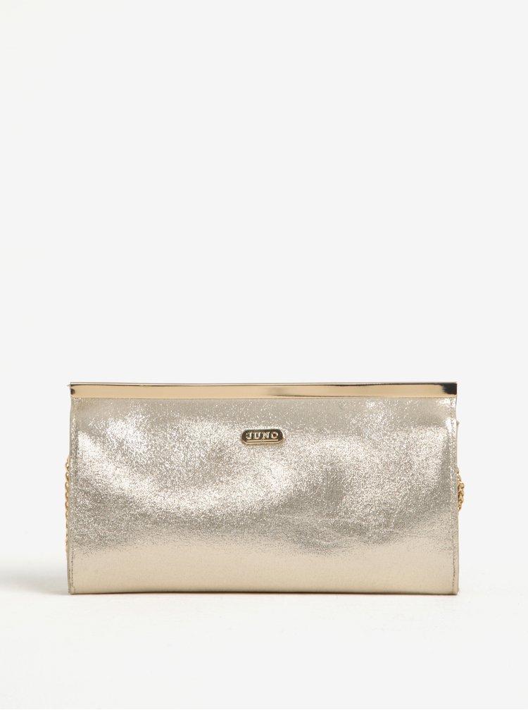 Metalická listová kabelka v zlatej farbe Juno