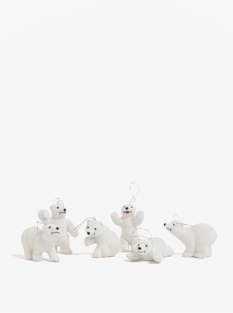 Set šesti bílých ozdob ve tvaru ledního medvěda Kaemingk