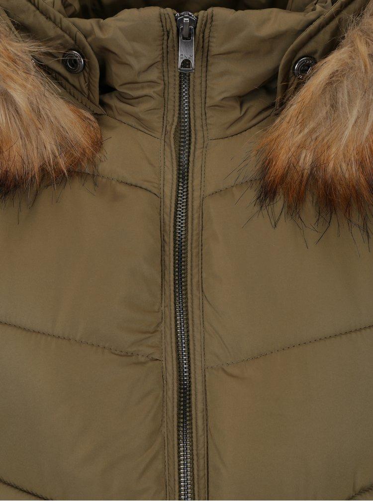 Khaki prošívaný kabát s umělou kožešinou ONLY Sanna