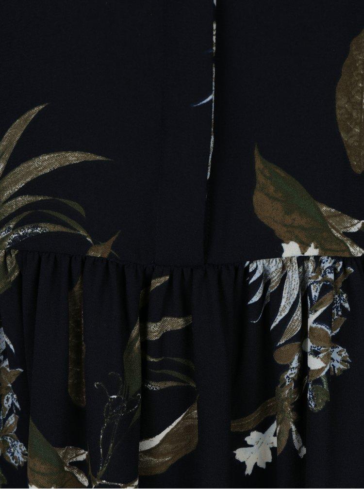 Tmavě modré květované košilové šaty VERO MODA Aya