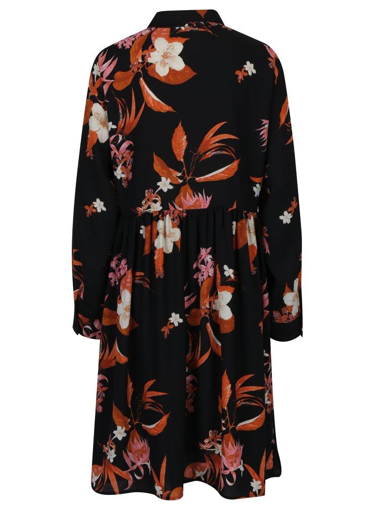 Černé květované košilové šaty VERO MODA Aya