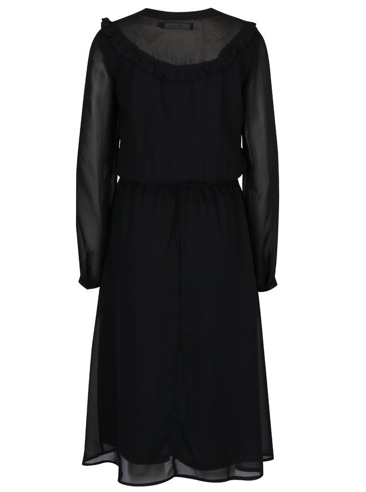 Černé šaty s průsvitnými rukávy VERO MODA Rose